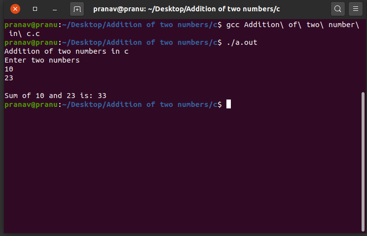Addition of two numbers in c