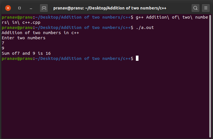 Addition of two numbers in c++