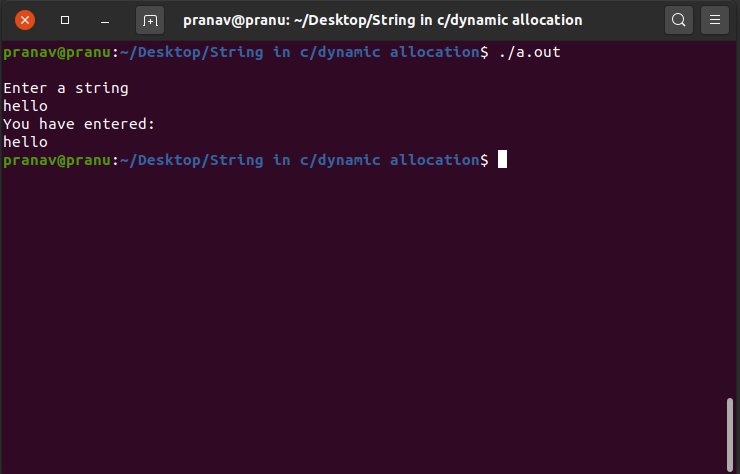 dynamically allocate a string in c