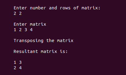Output for transpose of a matrix in c 1