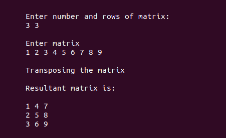 Output for transpose of a matrix in c 2