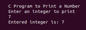 C program to print an Integer entered by the user